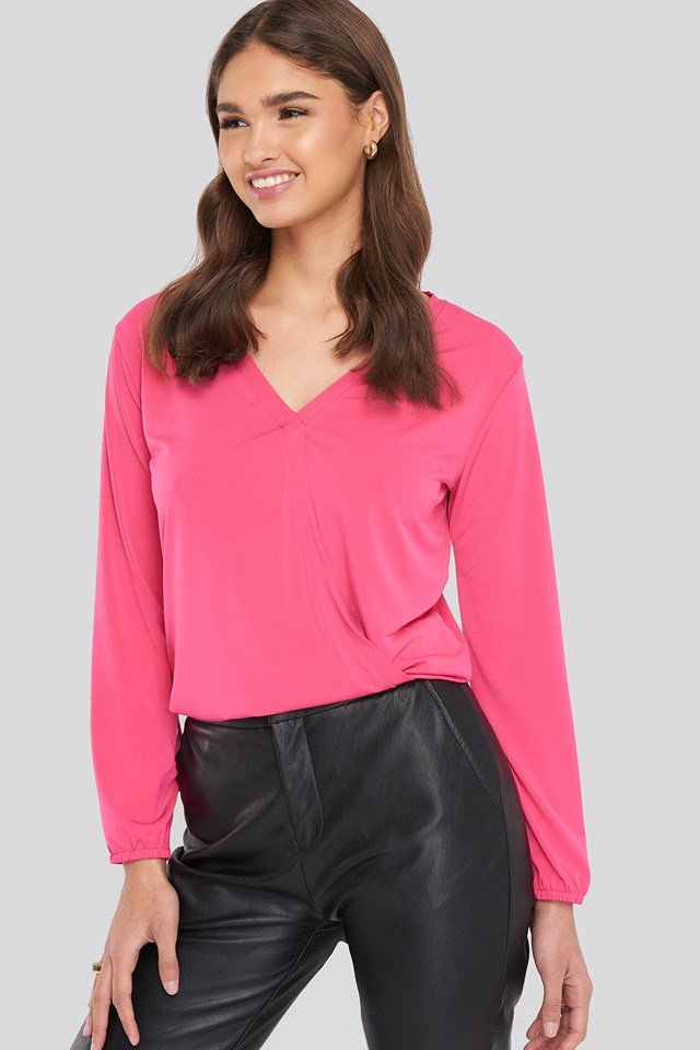 Long Sleeve Overlap Blouse Pink