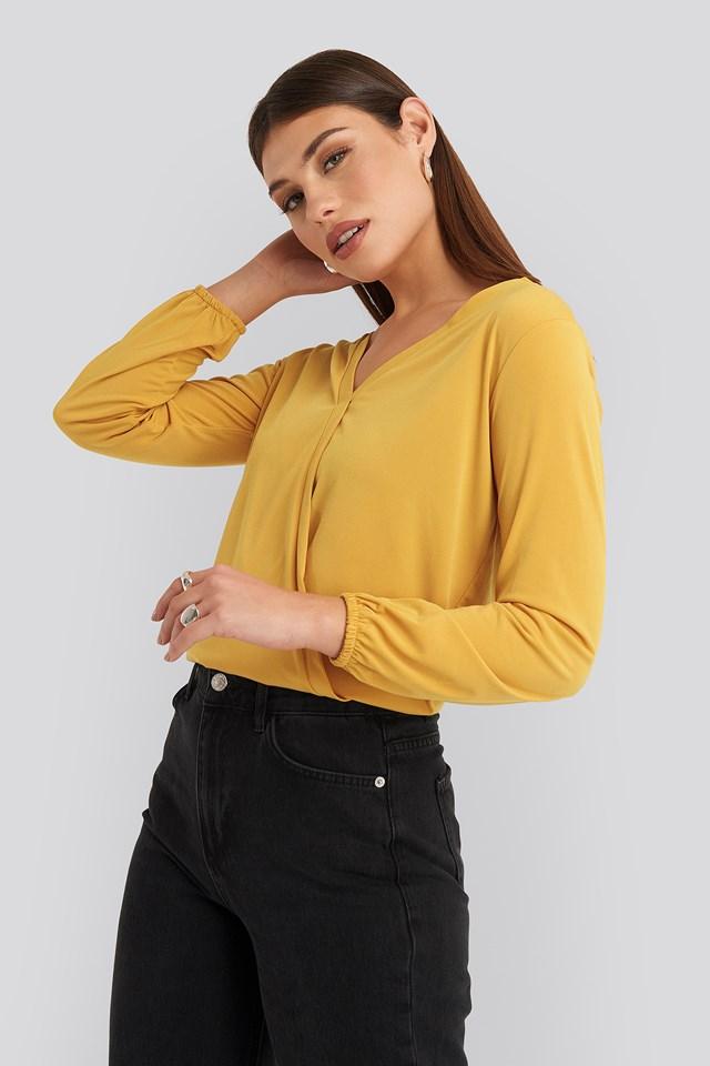 Long Sleeve Overlap Blouse Mustard