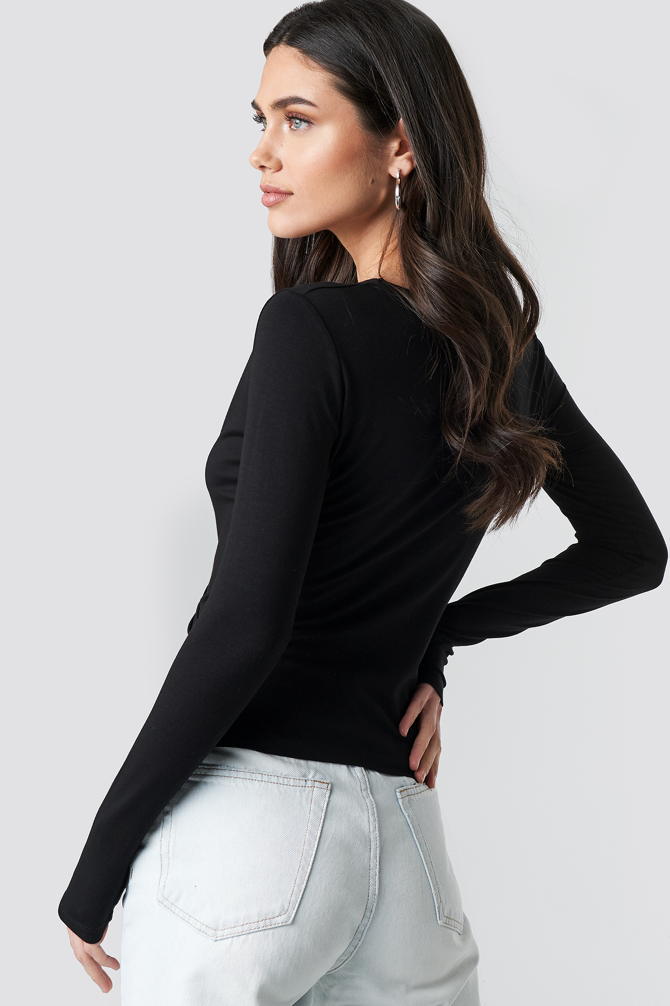 Long Sleeve Overlap Top NA-KD.COM