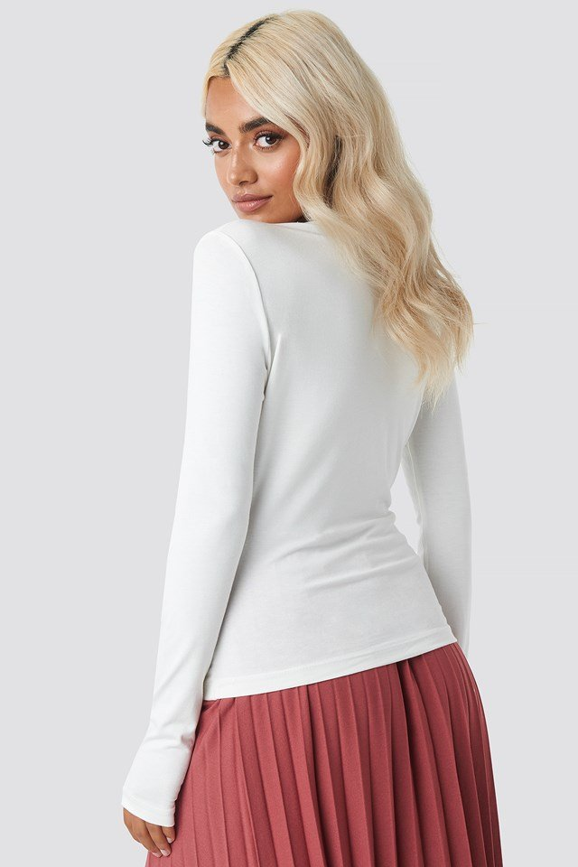 Long Sleeve Overlap Top Offwhite