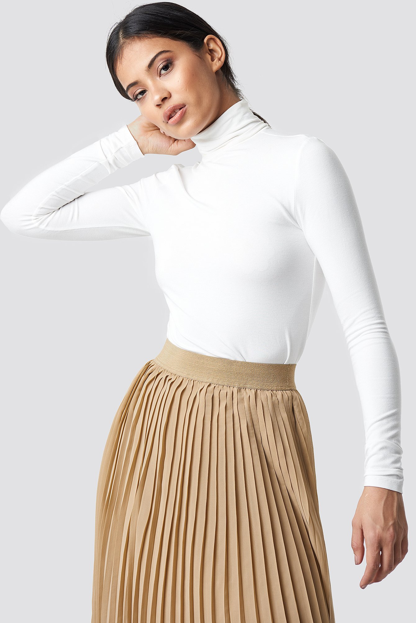 na-kd basic -  Viscose Long Sleeve Polo Top - White