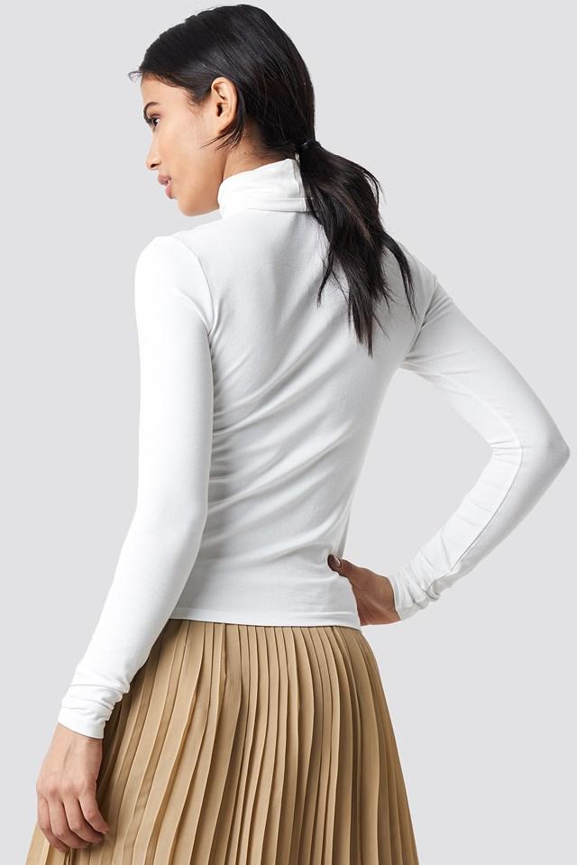 Viscose Long Sleeve Polo Top Offwhite