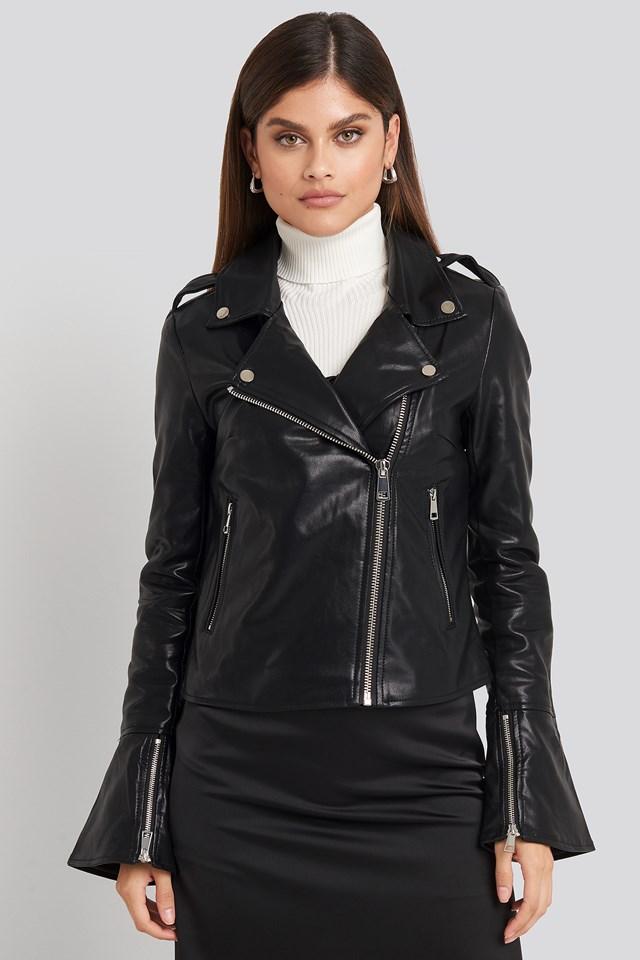 Long Sleeve PU Biker Jacket Black