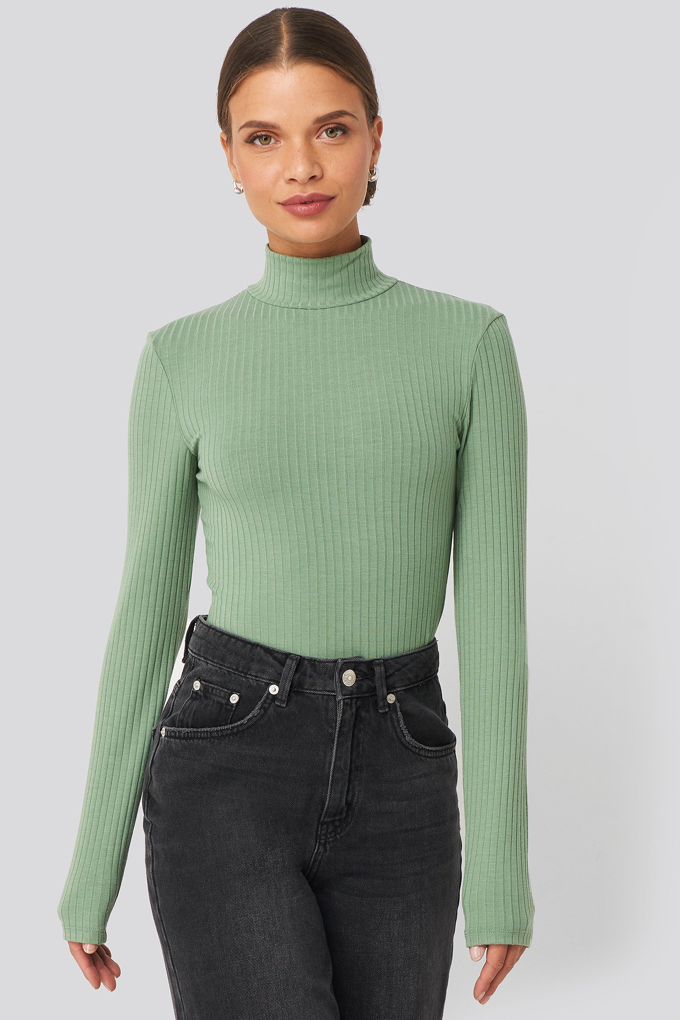 na-kd -  Long Sleeve Ribbed Polo Top - Green