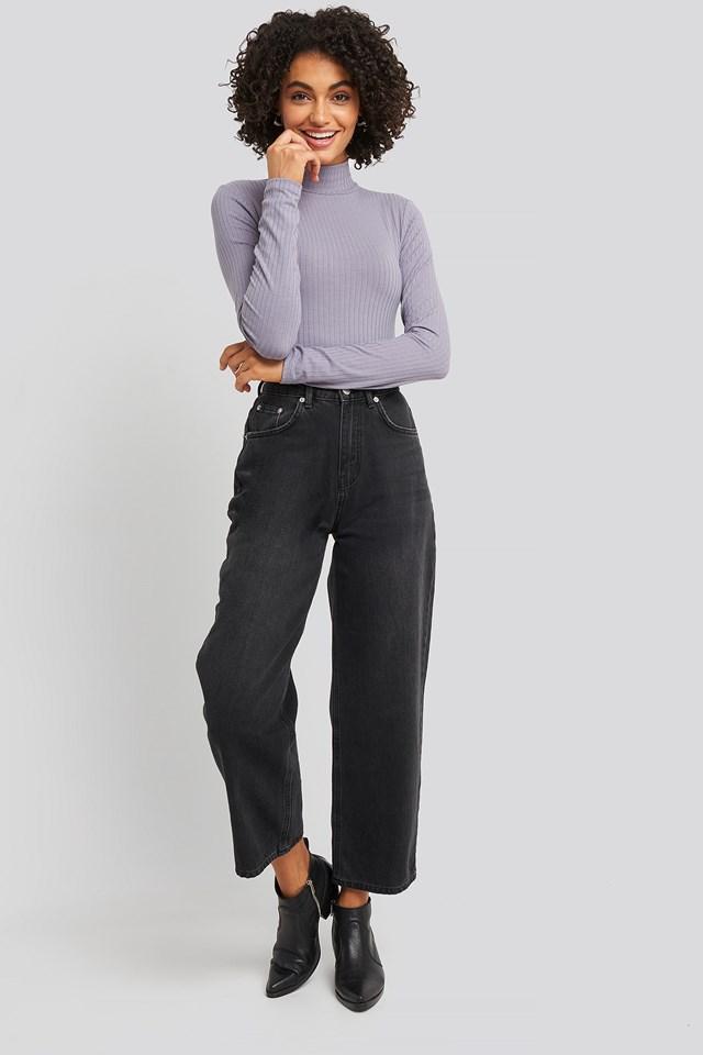 Long Sleeve Ribbed Polo Top Dark Purple