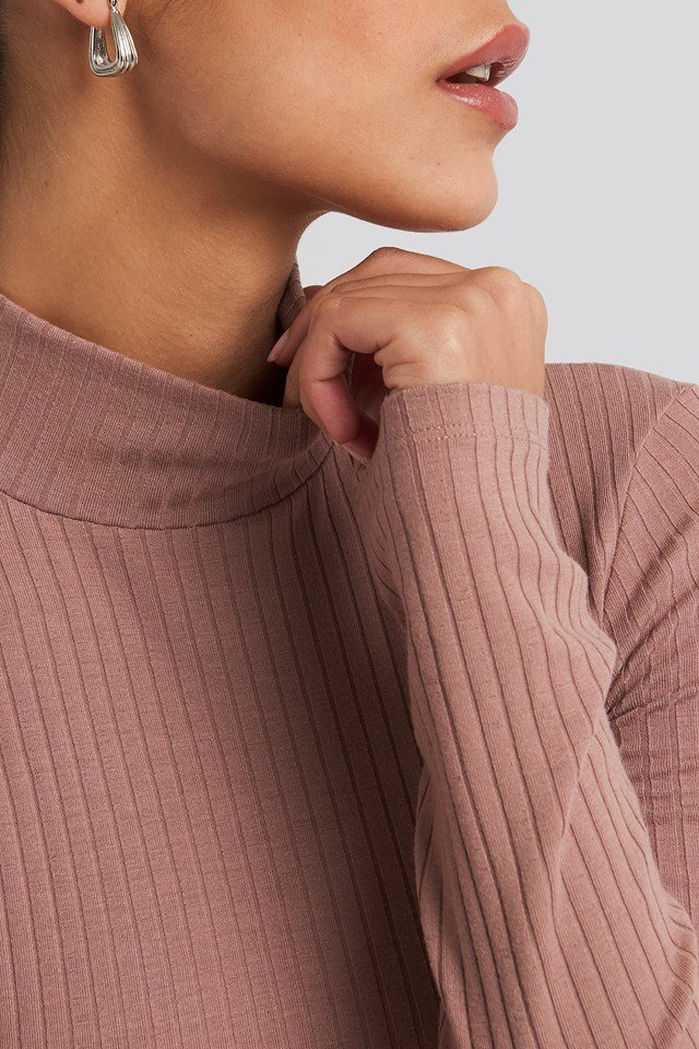 Long Sleeve Ribbed Polo Top Dusty Dark Pink