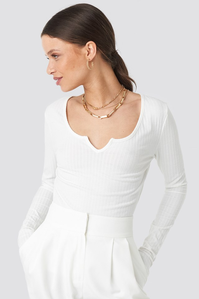 Long Sleeve Ribbed Top Offwhite