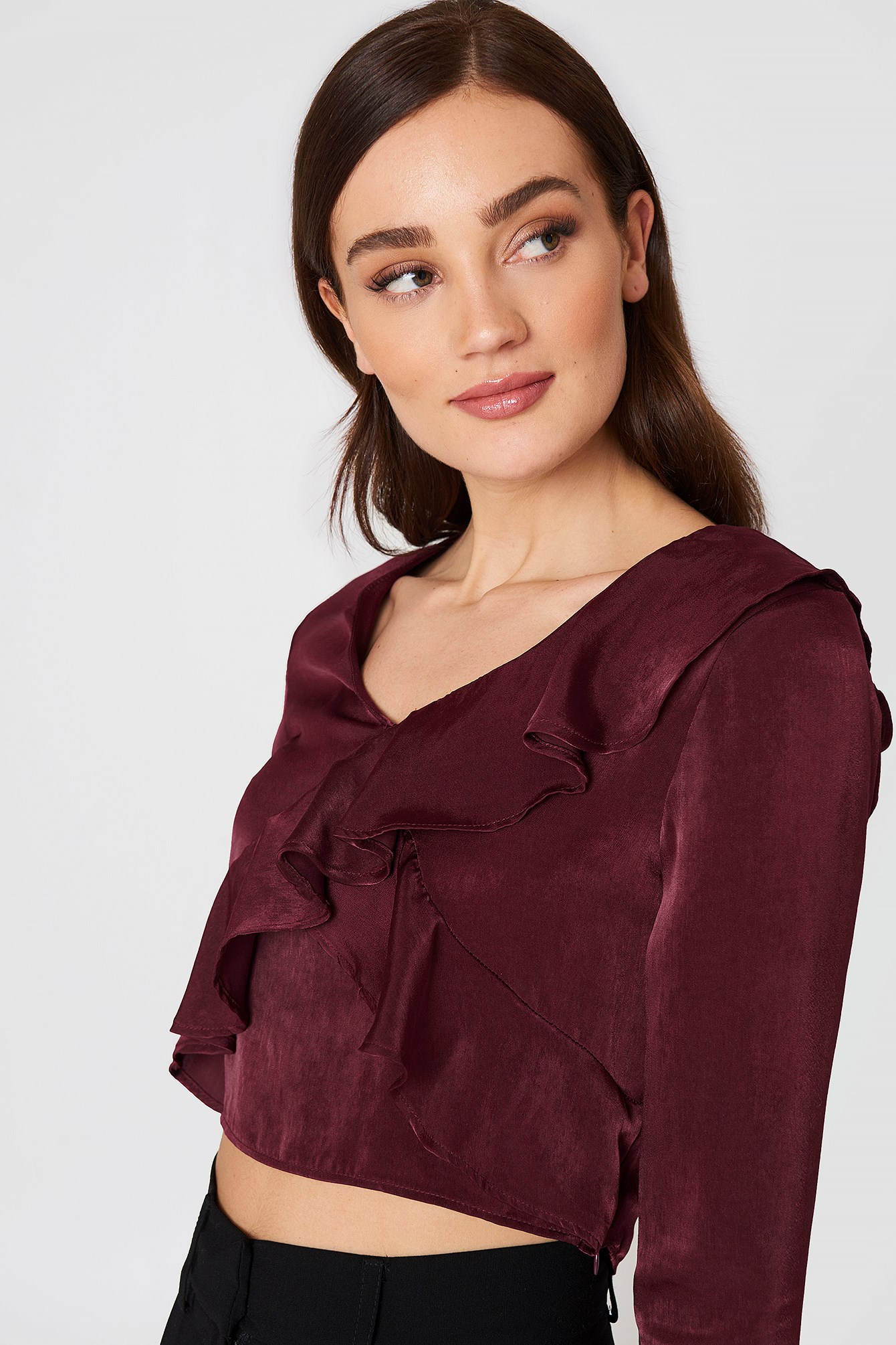 Long Sleeve Ruffle Top NA-KD.COM