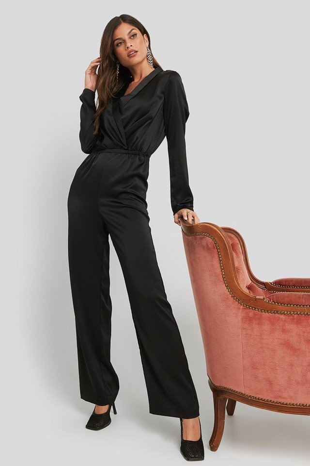 Long Sleeve Satin Jumpsuit Black