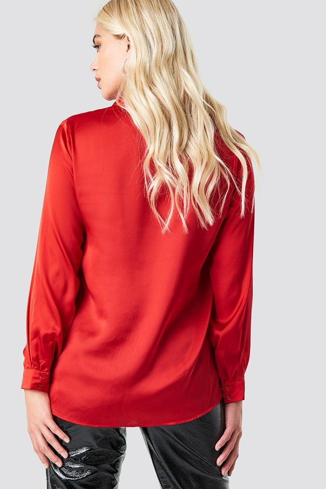 Long Sleeve Satin Shirt Red