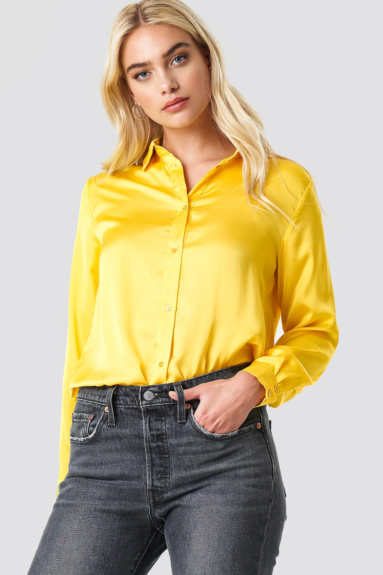 na-kd -  Long Sleeve Satin Shirt - Yellow