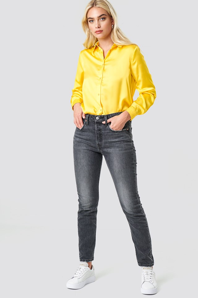 Long Sleeve Satin Shirt Yellow