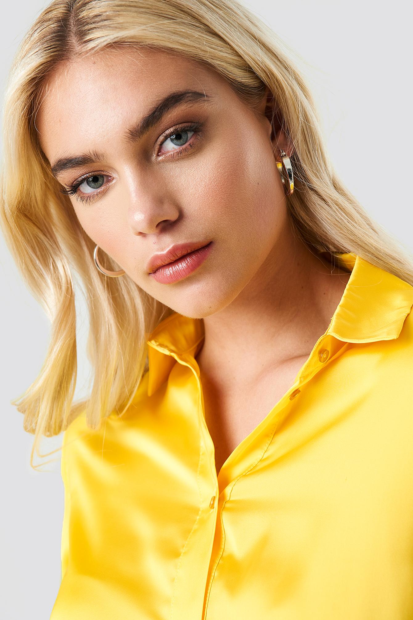 Long Sleeve Satin Shirt NA-KD.COM