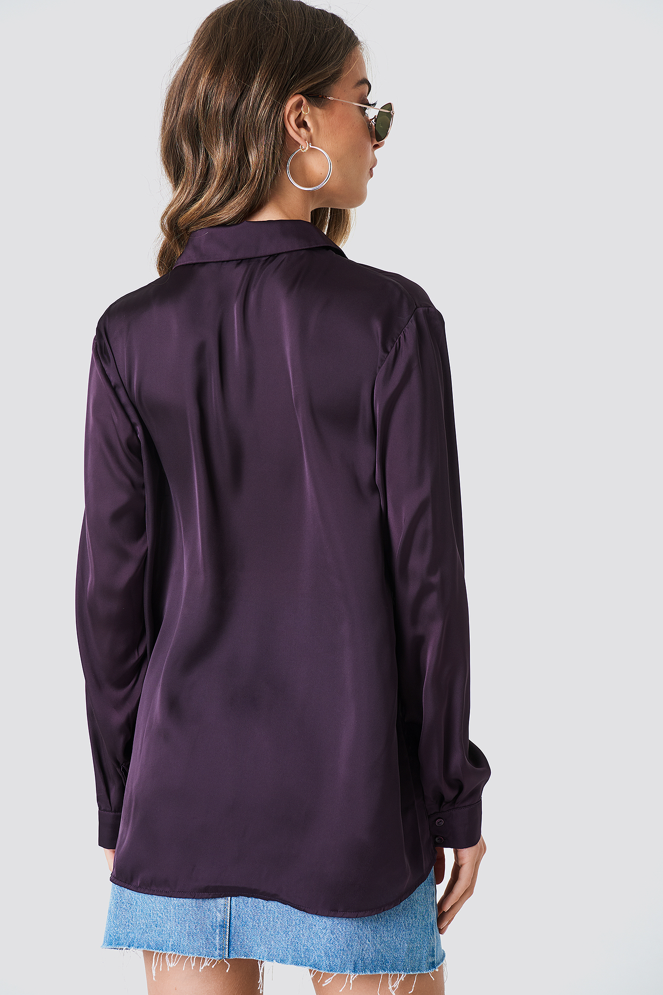 Long Sleeve Satin Shirt NA-KD.COM