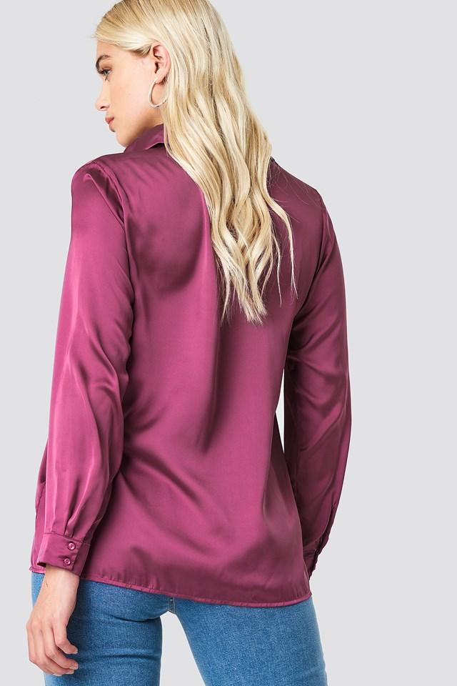 Long Sleeve Satin Shirt Purple Rose