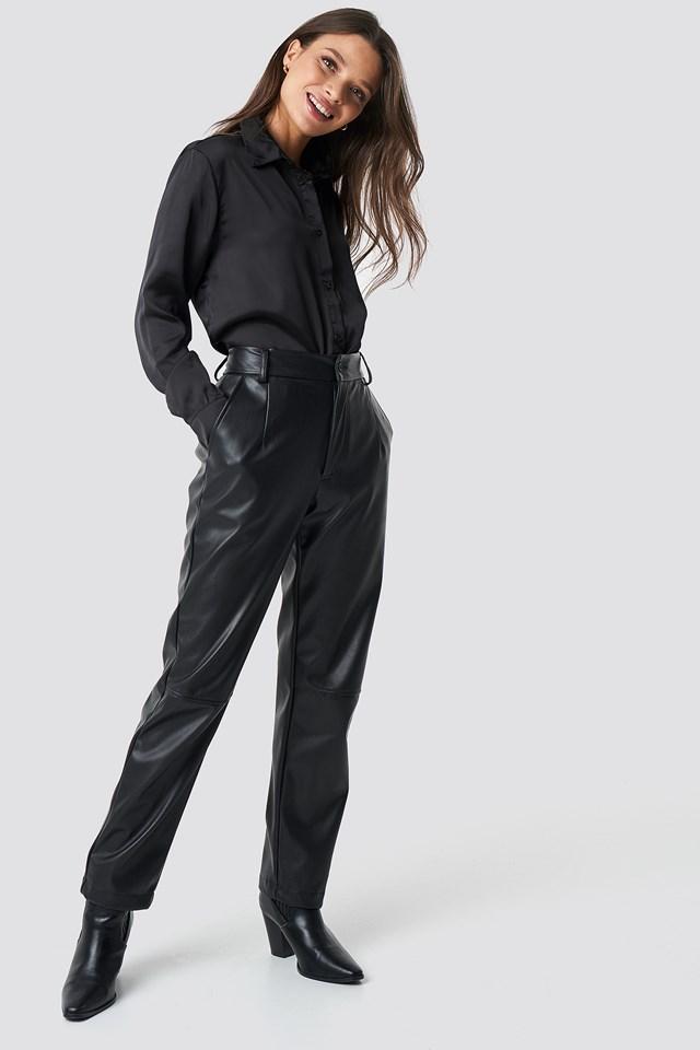 Satynowa koszula z długim rękawem Black