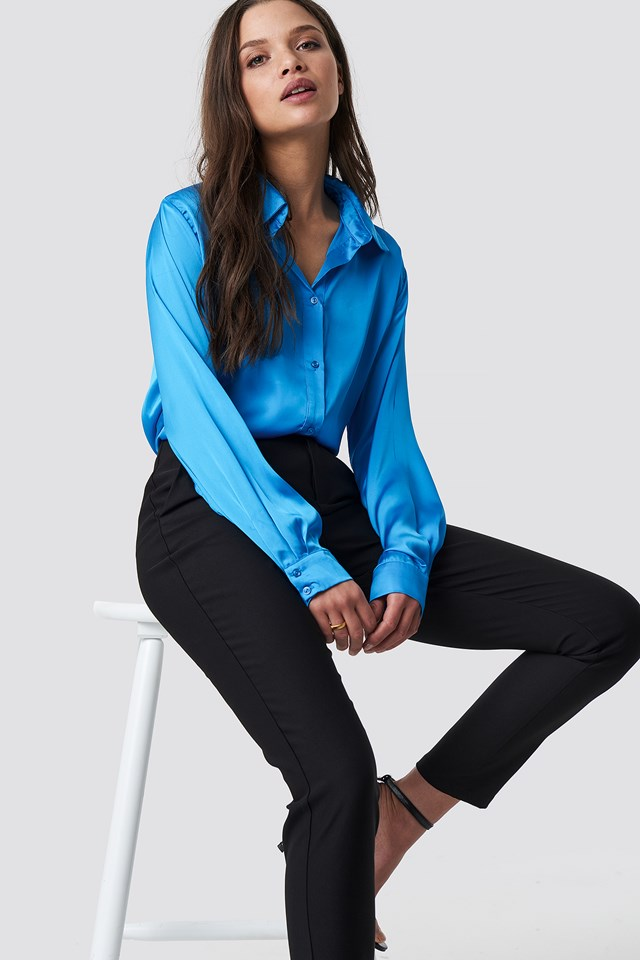 Long Sleeve Satin Shirt Ocean Blue