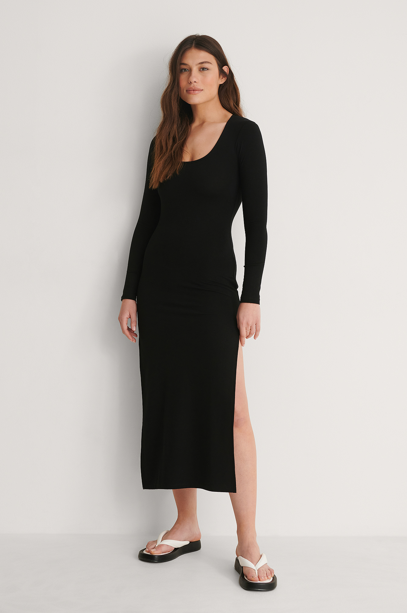 Black Recyled Long Sleeve Slit Dress