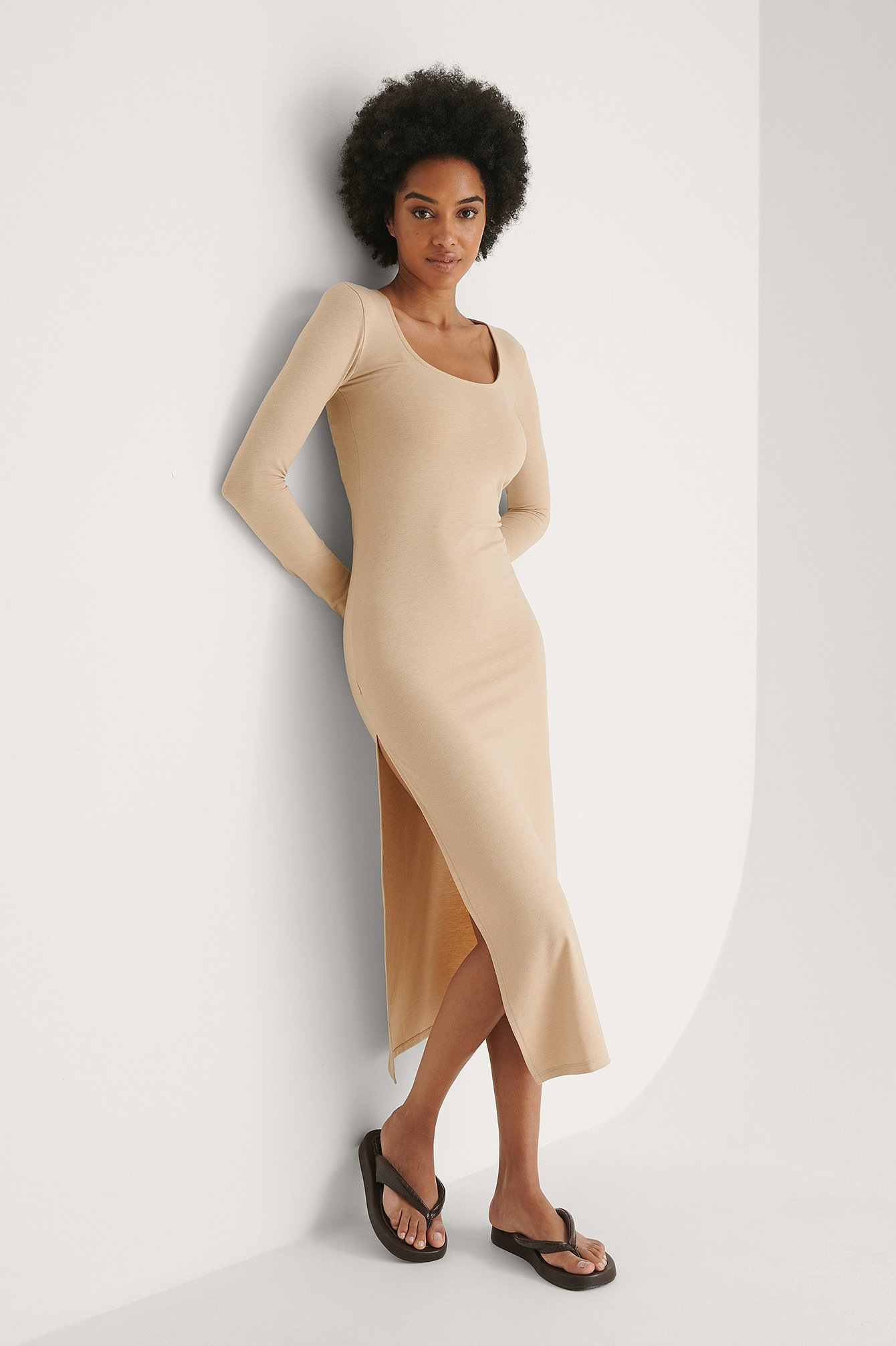 Beige Melange Recyled Long Sleeve Slit Dress