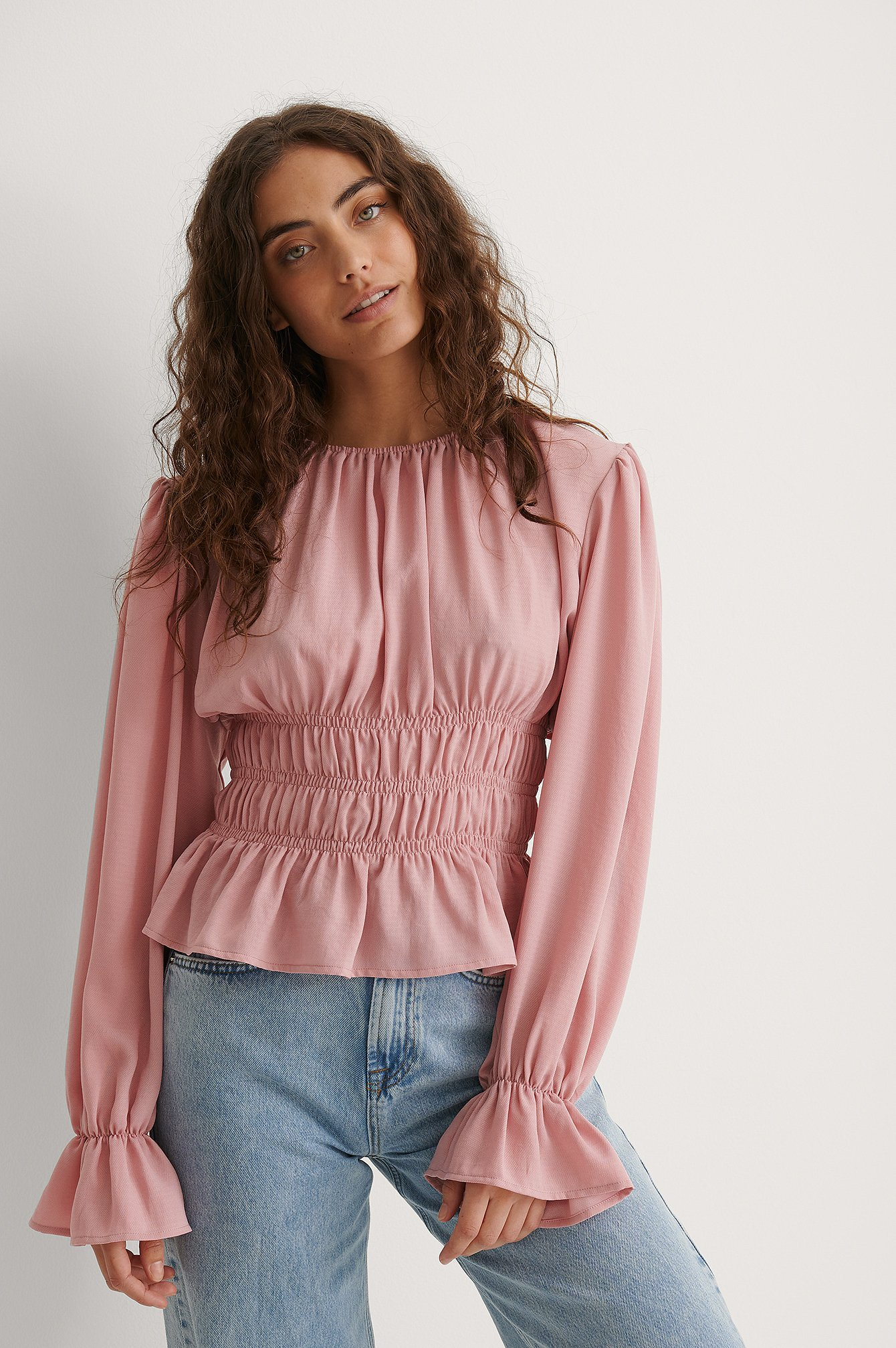 Dusty Pink Long Sleeve Smock Waist Frill Top