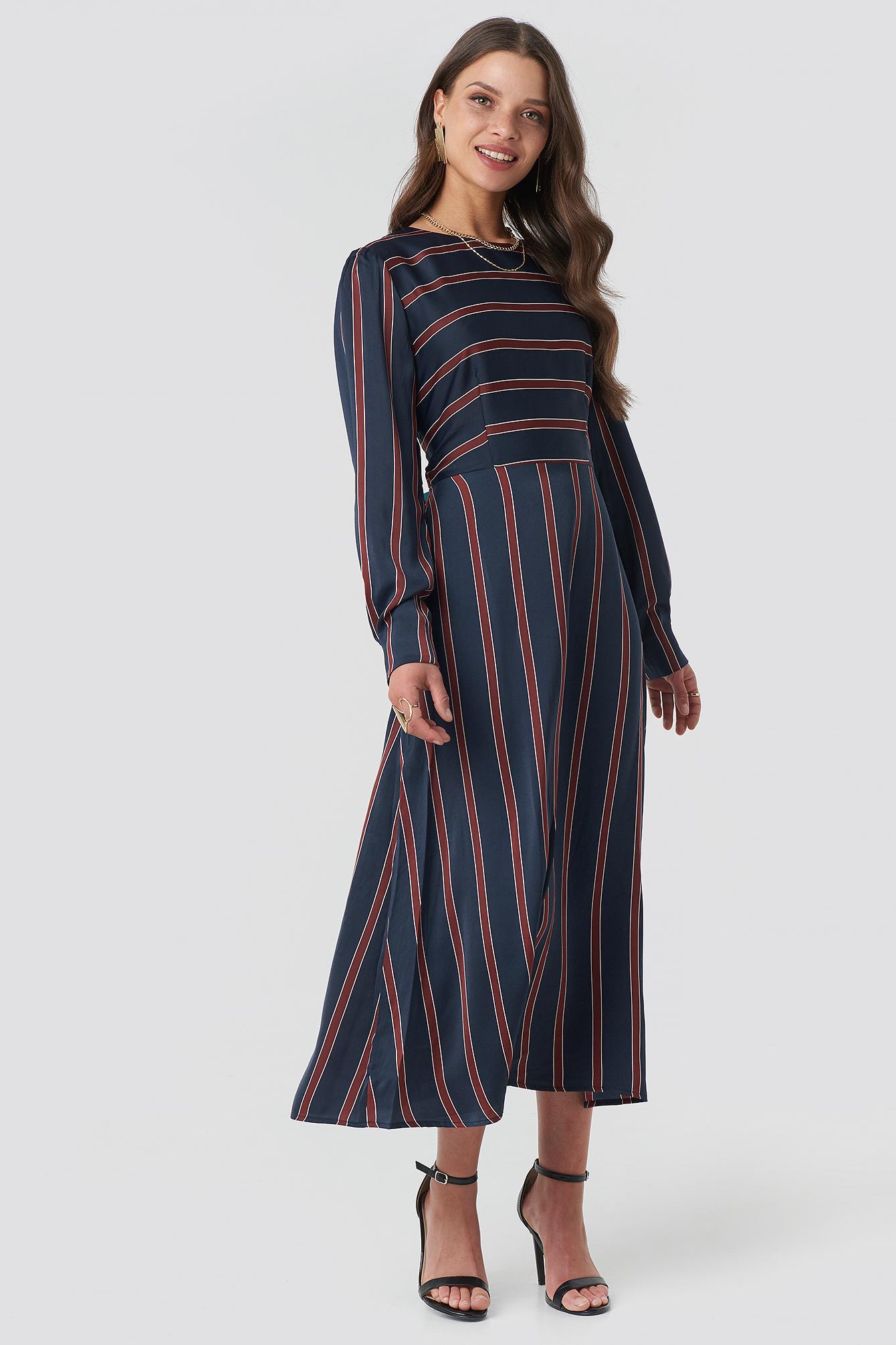 Long Sleeve Striped Midi Dress NA-KD.COM