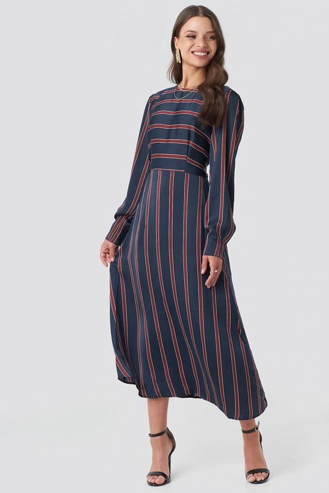 Long Sleeve Striped Midi Dress Stripe