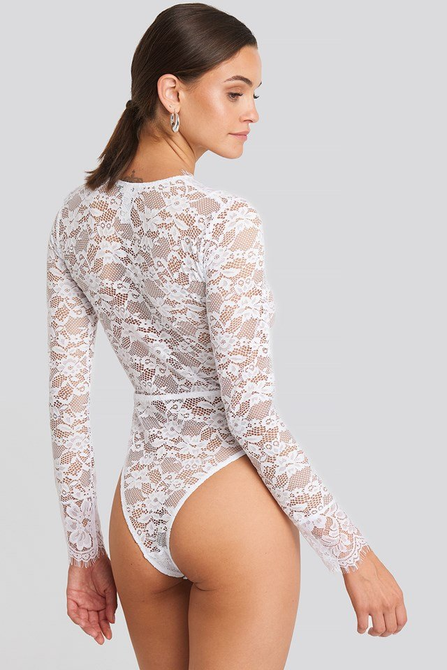 Long Sleeve V-neck Bodysuit White