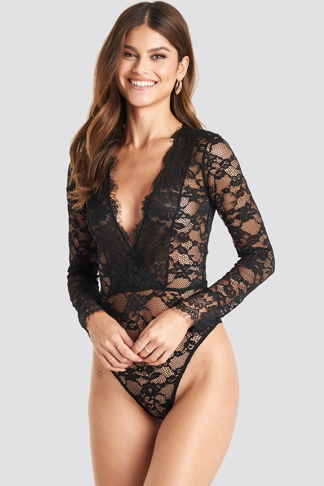 Long Sleeve V-neck Bodysuit Black