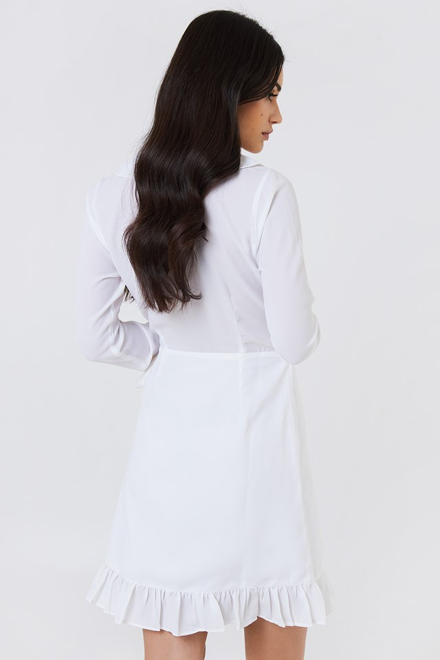Long Sleeve Wrap Frill Dress White