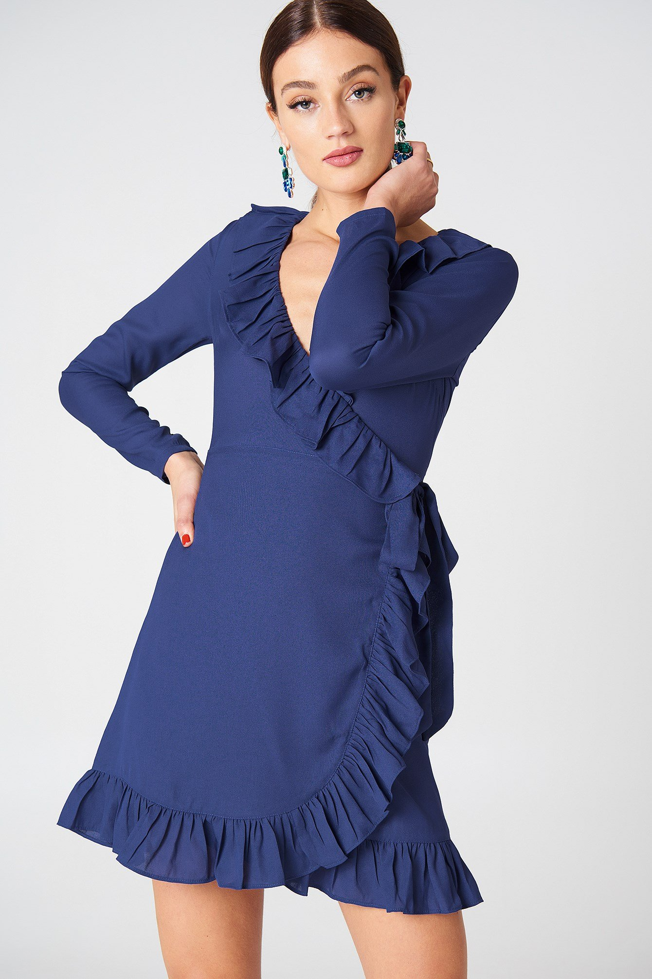 Long Sleeve Wrap Frill Dress NA-KD.COM
