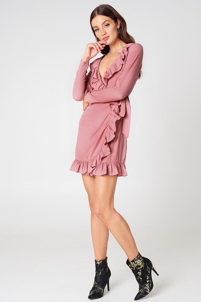 Long Sleeve Wrap Frill Dress NA-KD.COM