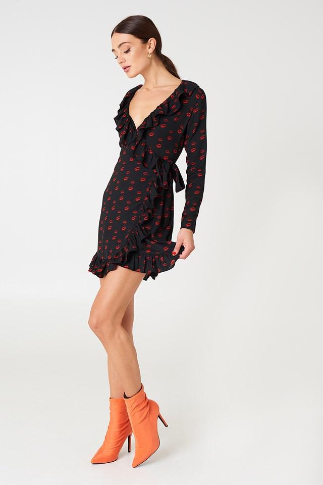 Long Sleeve Wrap Frill Dress Red Lip Print