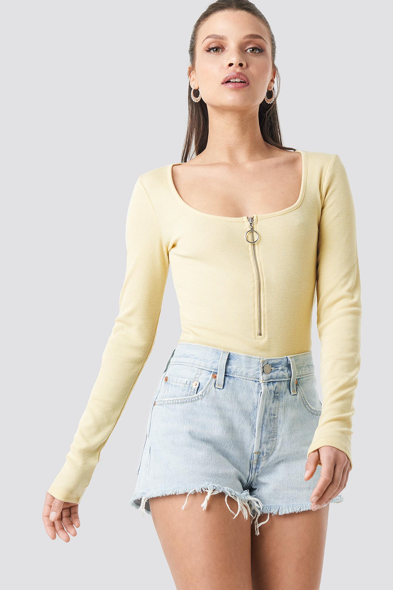 na-kd -  Long Sleeve Zipped Top - Yellow