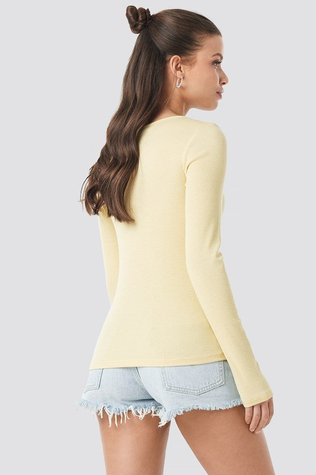 Long Sleeve Zipped Top Light Yellow