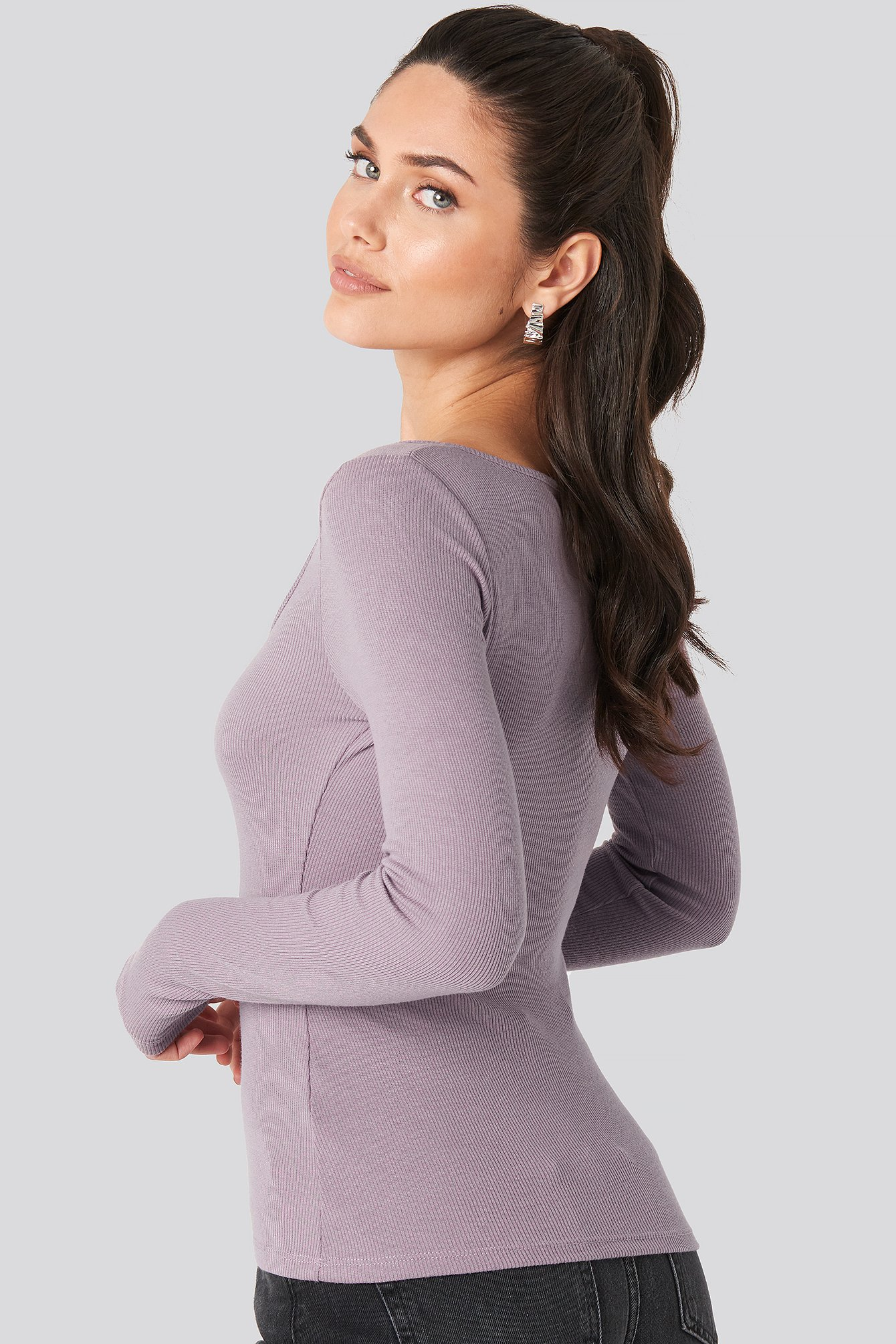 Dusty Light Purple Long Sleeve Zipped Top