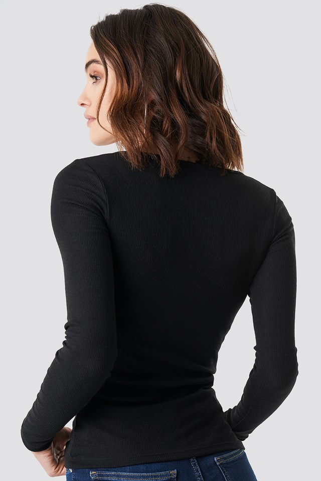 Long Sleeve Zipped Top Black