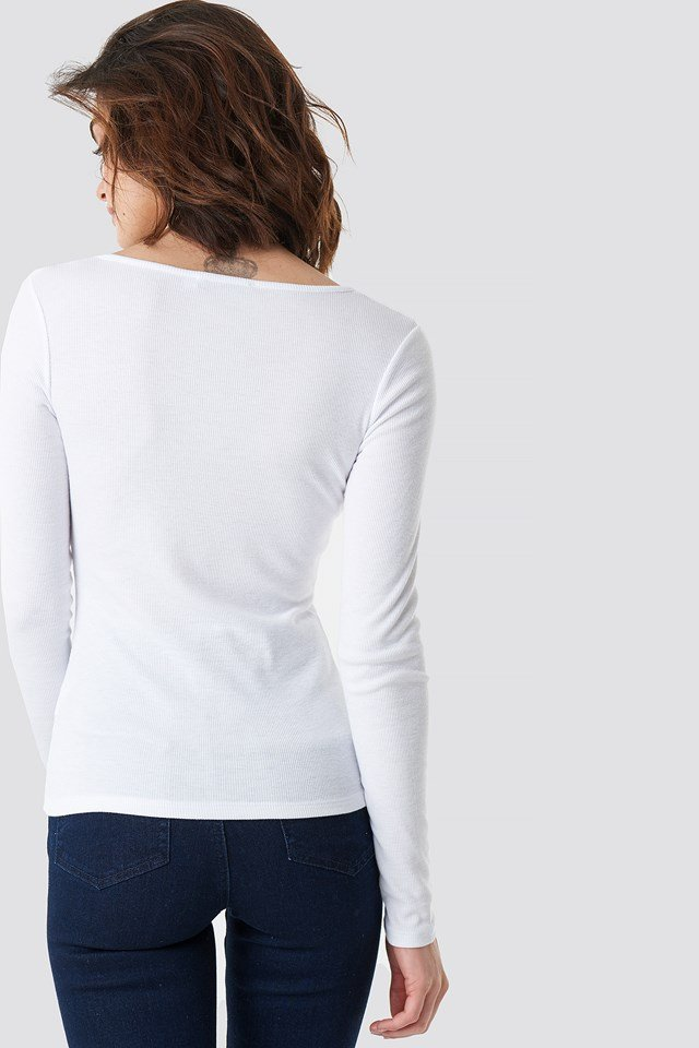 Long Sleeve Zipped Top Offwhite