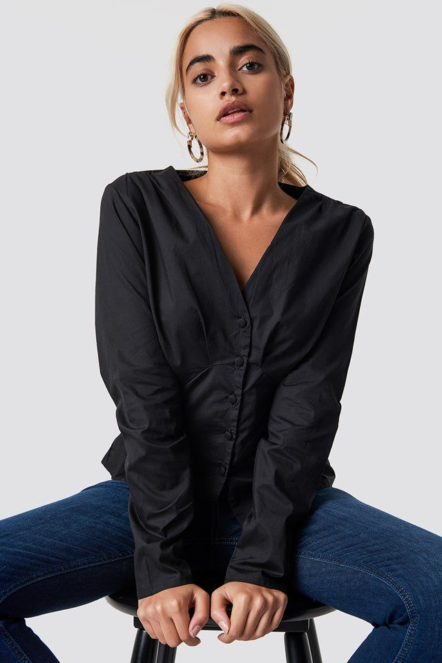 Long Sleeve Buttoned Blouse Black