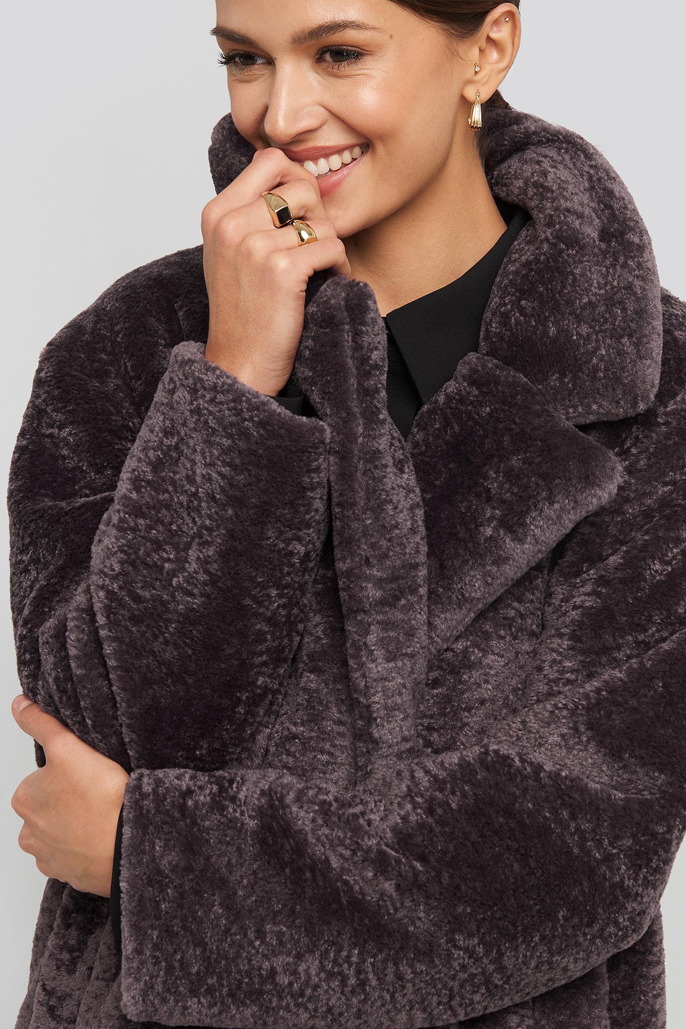 na-kd -  Long Teddy Coat - Purple