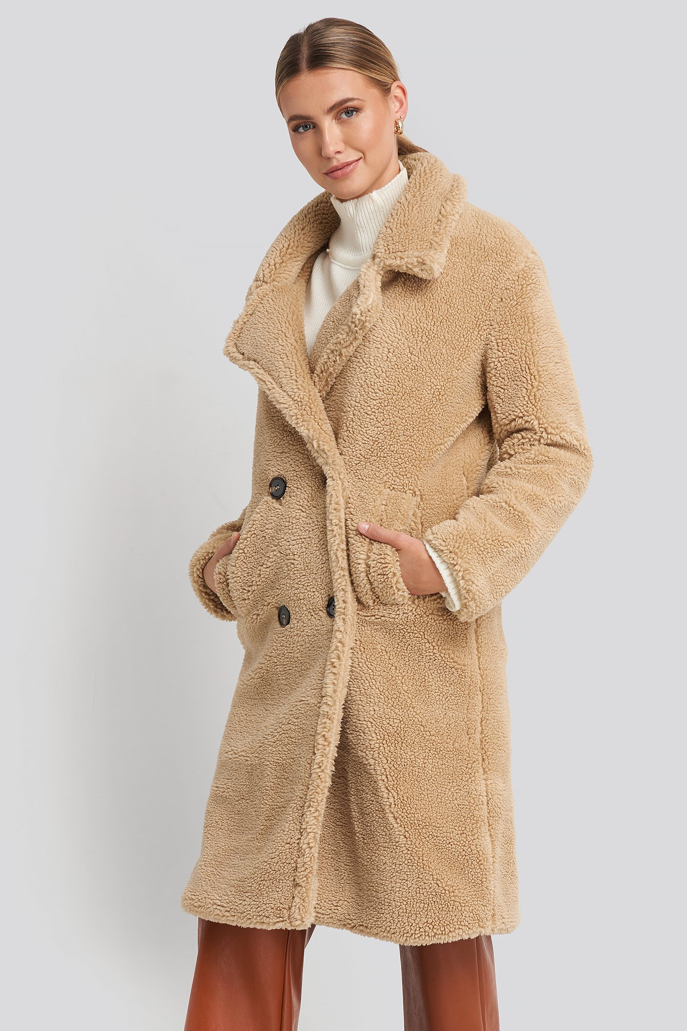 na-kd -  Long Teddy Coat - Beige