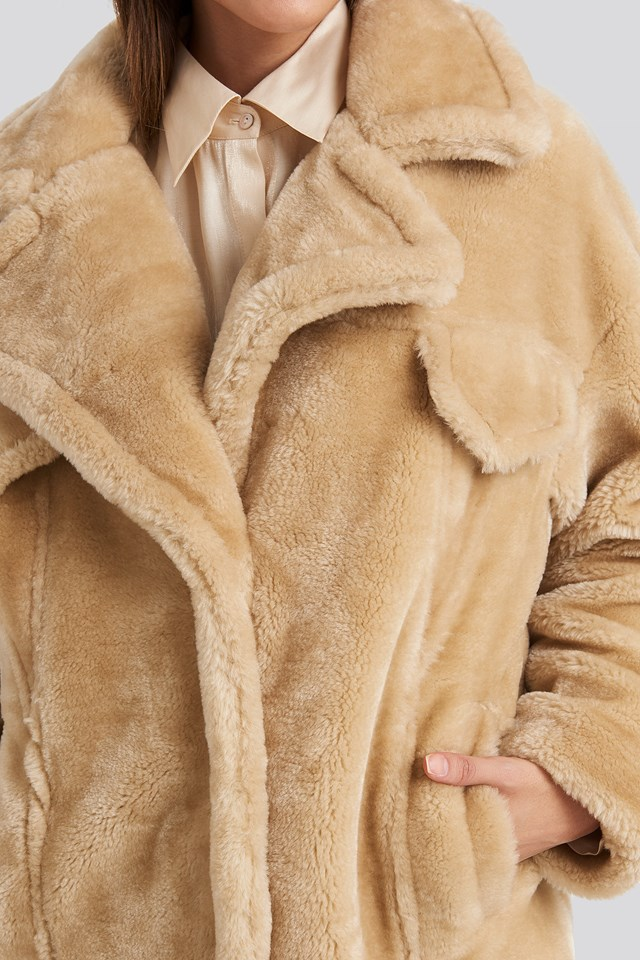 Long Teddy Fur Jacket Beige