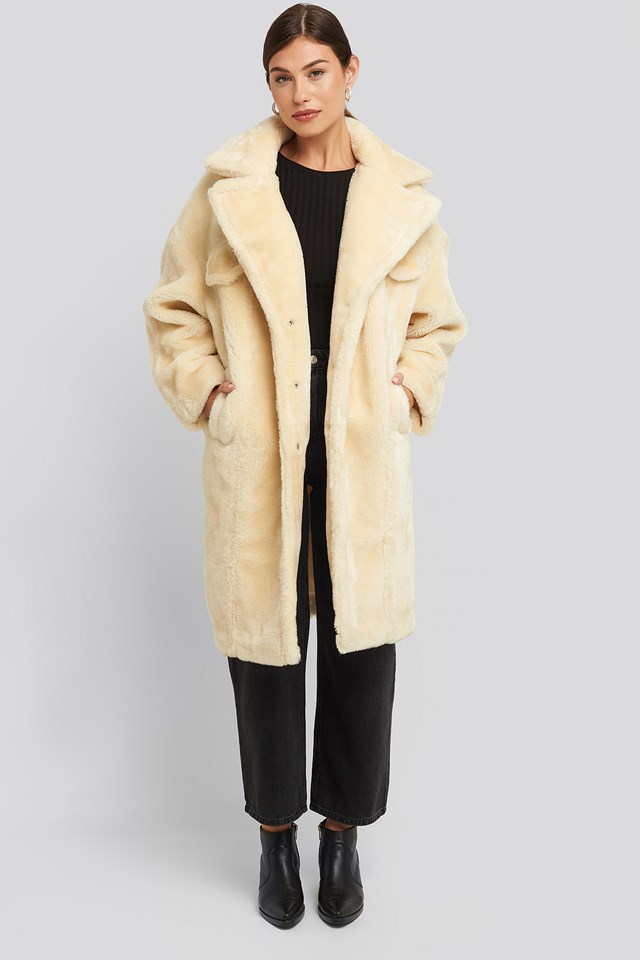 Long Teddy Fur Jacket Offwhite