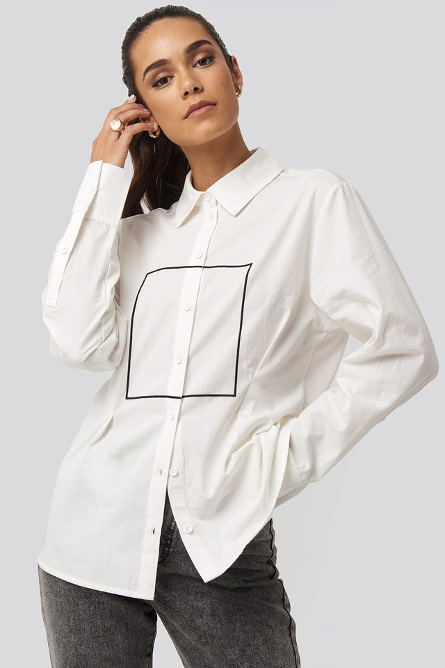 Longline Button Up Shirt White