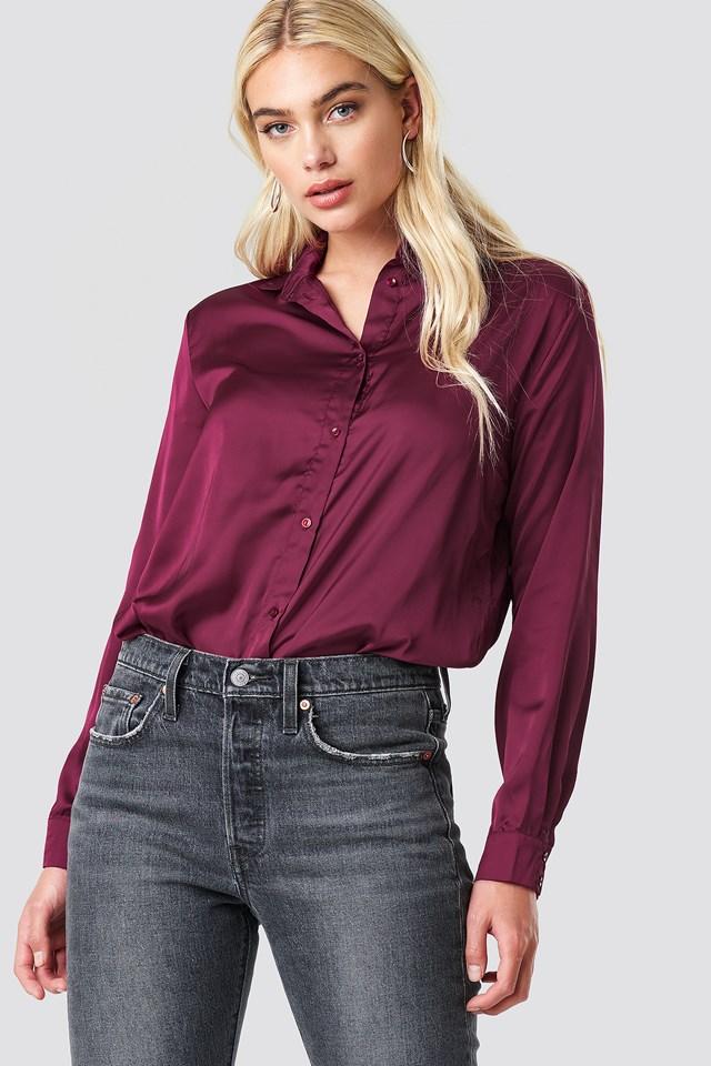 Long Sleeve Satin Shirt NA-KD