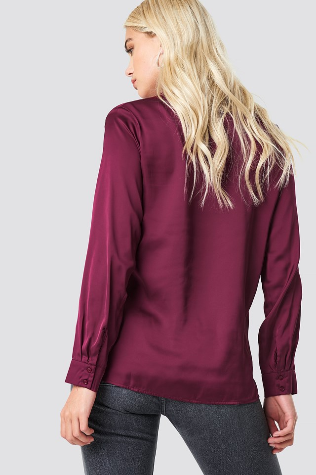 Long Sleeve Satin Shirt Burgundy