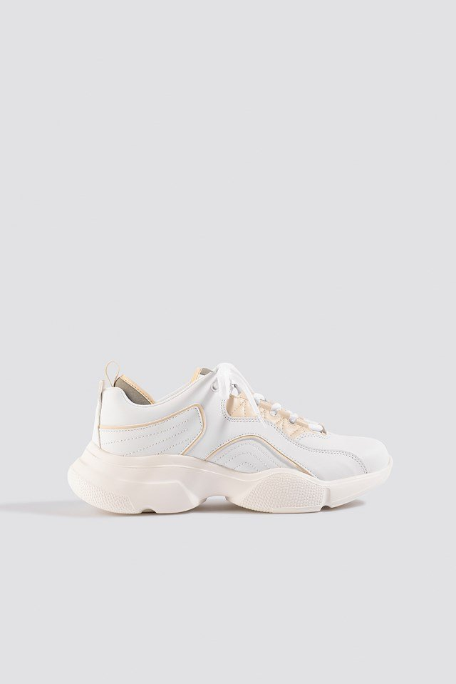Loop Lacing Trainers White/Nude