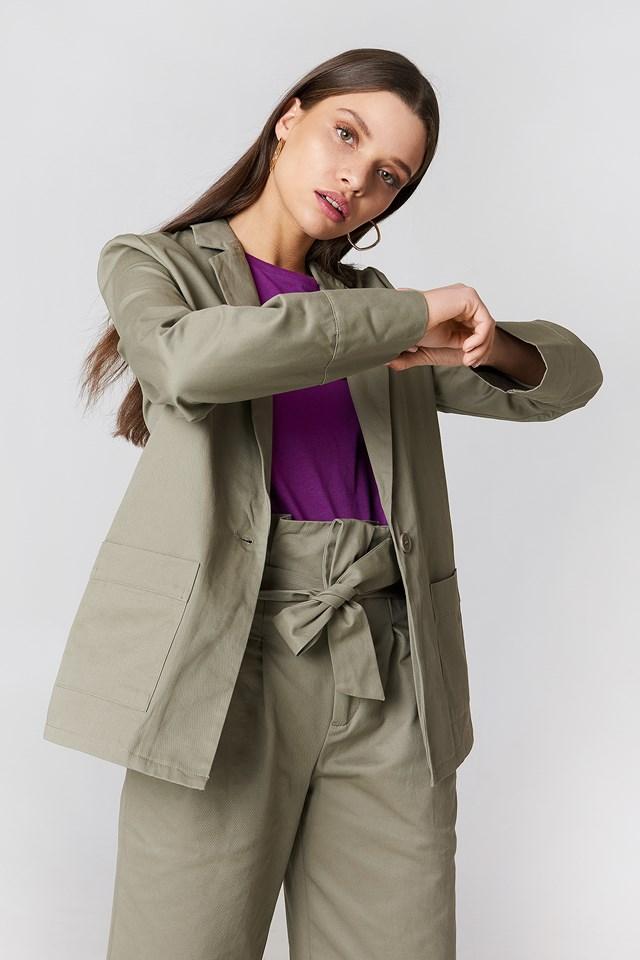 Loose Fit Cotton Blazer Green