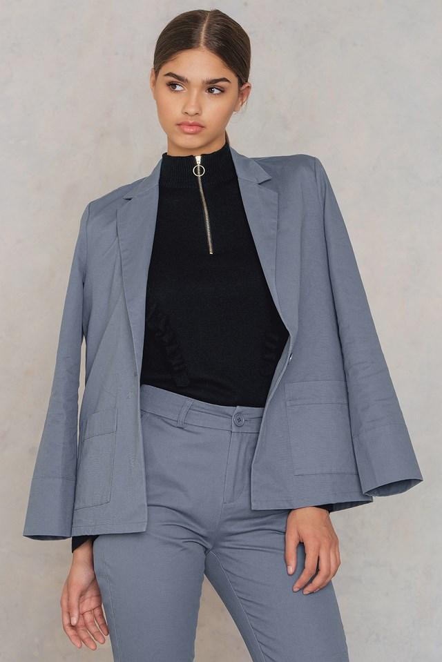 Loose Fit Cotton Blazer Dusty Blue