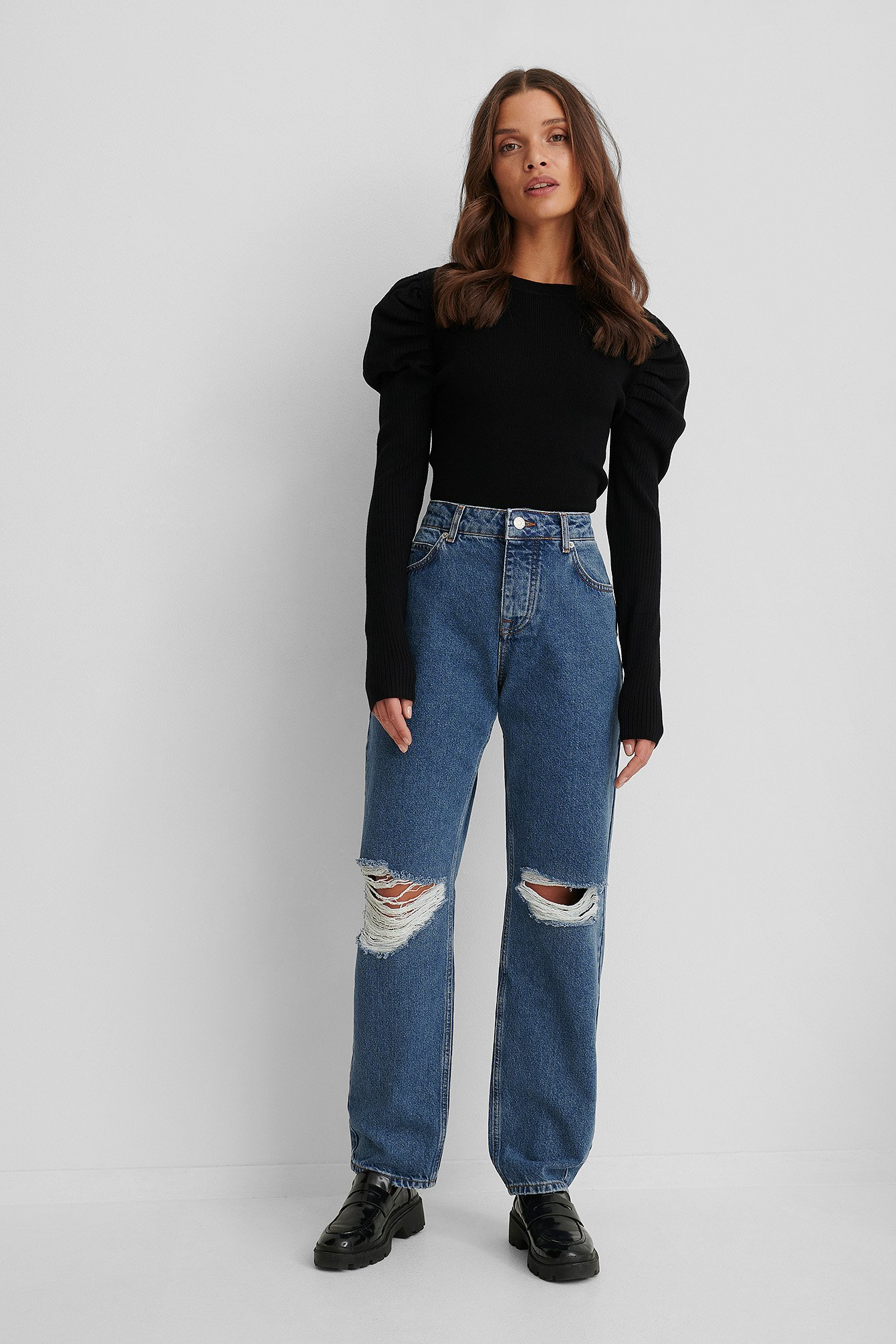 Mid Blue Loose Fit Destroyed Jeans