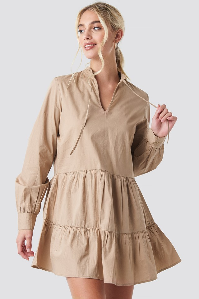 Loose Fit Frill Tunic Dress Dark Beige